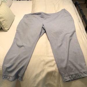 Chambray ruffled pants